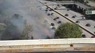 Crews battle a fire in San Jose.