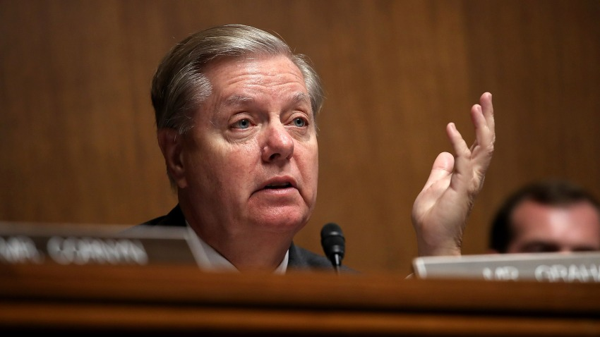 In this June 19, 2018, file photo, Sen. Lindsey Graham (R-SC) questions U.S. Citizenship and Immigration Services Director L. Francis Cissna during a Senate Judiciary Committee hearing in Washington, DC.