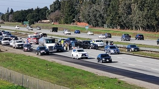 A crash blocks lanes of southbound Highway 101 near Morgan Hill.