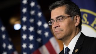 In this May 11, 2016, file photo, Rep. Xavier Becerra (D-CA) listens during a news conference to discuss the rhetoric of presidential candidate Donald Trump, at the U.S. Capitol in Washington, D.C.