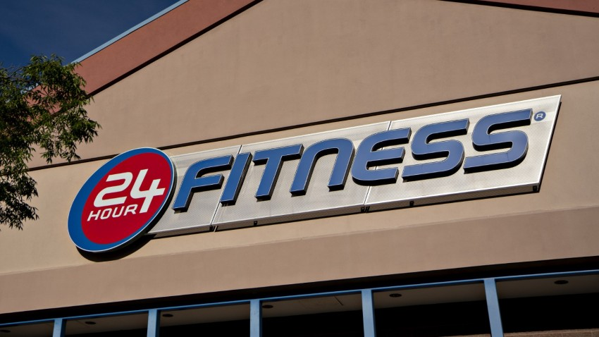 A 24 Hour Fitness sign.