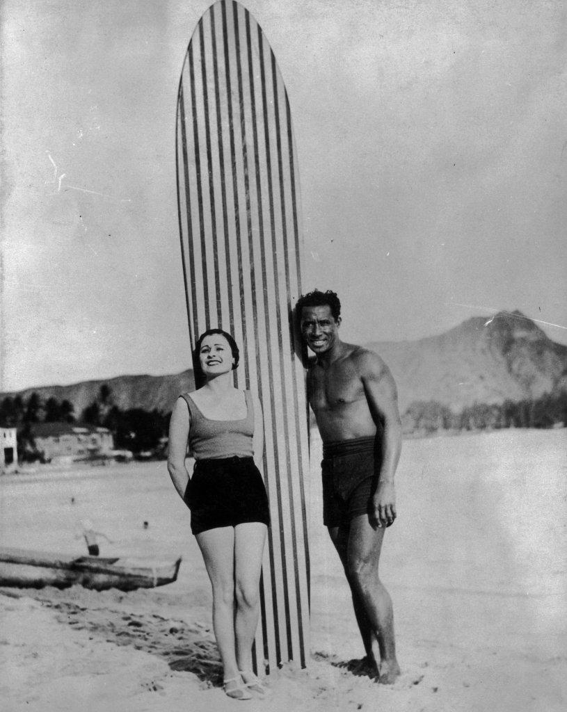 Duke surfing old school long board hawaii