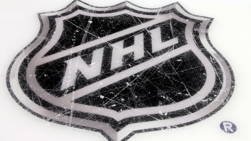 A general view of the NHL logo prior to the 2015 Honda NHL All-Star Skills Competition at the Nationwide Arena on January 24, 2015 in Columbus, Ohio.