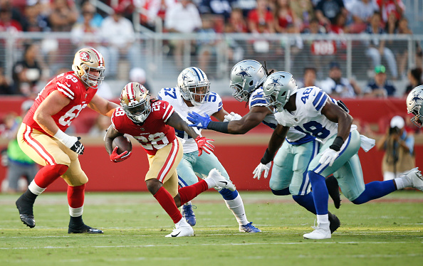 Jerick McKinnon #28 of the San Francisco 49ers