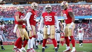 Nick Bosa, Arik Armstead, Sheldon Day and DeForest Buckner of the San Francisco 49ers.