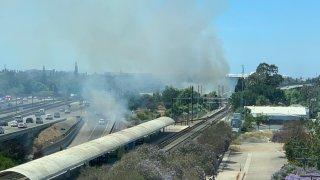 Fires burn near Highway 87 in San Jose.