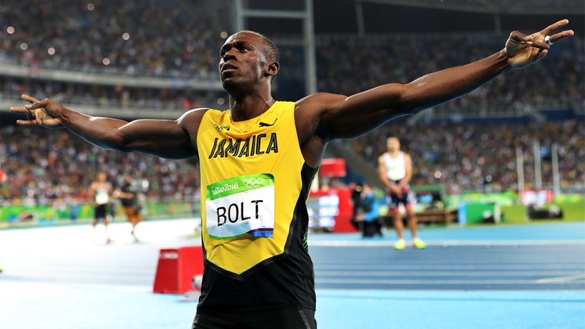 In this Aug. 18, 2016, file photo, Usain Bolt from Jamaica celebrates after crossing the line to win the gold medal in the men's 200-meter final during the athletics competitions of the 2016 Summer Olympics at the Olympic stadium in Rio de Janeiro, Brazil.