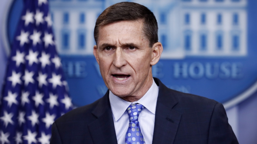 Then-National Security Adviser Michael Flynn speaks at the White House on Feb. 1, 2017.