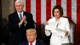 House Speaker Nancy Pelosi of Calif., tears her copy of President Donald Trump's s State of the Union address