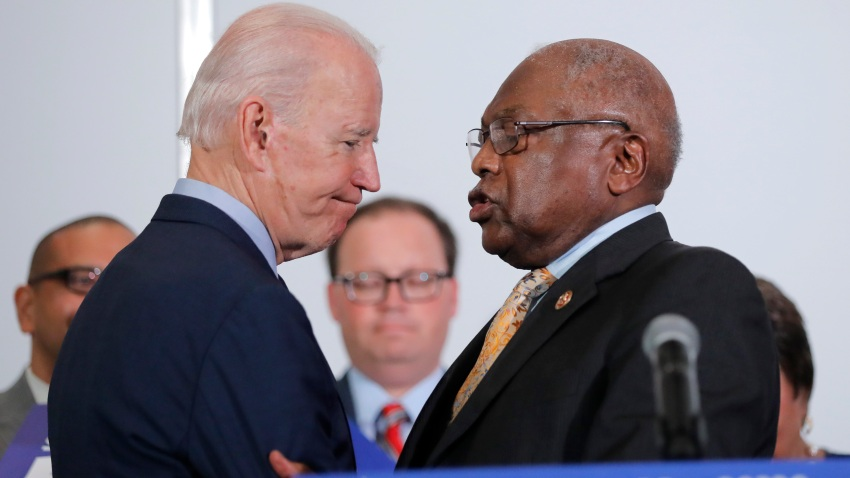 House Majority Whip, Rep. Jim Clyburn, D-S.C., greets Democratic presidential candidate and former Vice President Joe Biden, as he endorses him in North Charleston, S.C., Wednesday, Feb. 26, 2020. (AP Photo/Gerald Herbert)