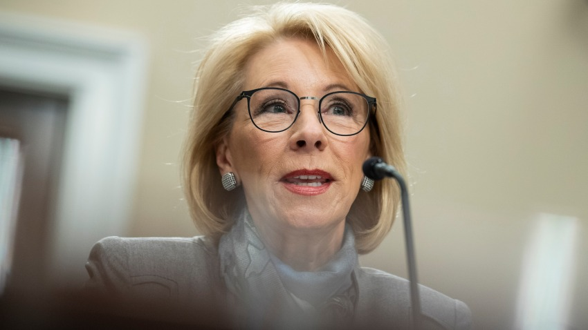 Education Secretary Betsy DeVos testifies during a hearing of the House Appropriations Sub-Committee on Labor, Health and Human Services, Education, and Related Agencies on the fiscal year 2021 budget, on Capitol Hill, Thursday, Feb. 27, 2020, in Washington.