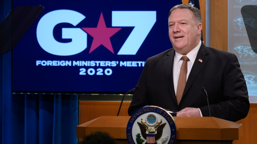 Secretary of State Mike Pompeo speaks during a news conference at the State Department
