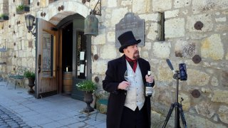 """George Webber, dressed as """"The Count"""" Agoston Haraszthy, leads a virtual online tasting and tour of the historic Buena Vista Winery in Sonoma, Calif."""