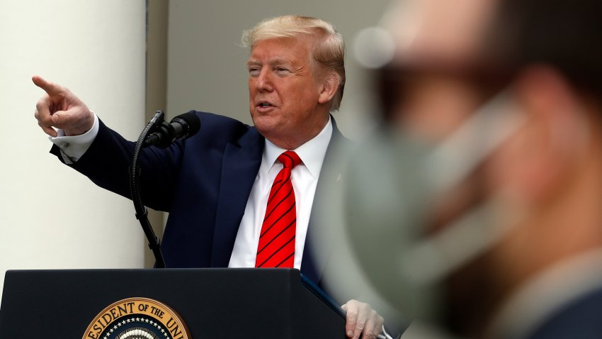 President Donald Trump speaks about the coronavirus during a press briefing