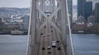 Traffic travels westbound on the Oakland-San Francisco Bay Bridge.