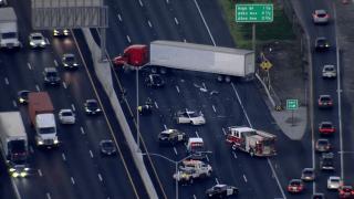 A big-rig crash blocks northbound Interstate 880 in Oakland.