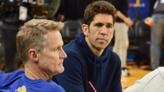 Head coach Steve Kerr and general manager Bob Myers.