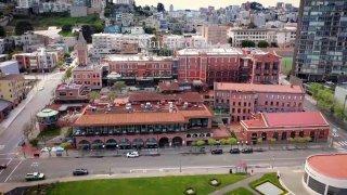 Ghirardelli Square in San Francisco during the coronavirus pandemic.