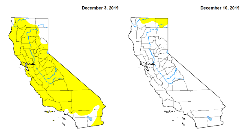 Maps from the U.S. Drought Monitor show improving drought conditions in California.