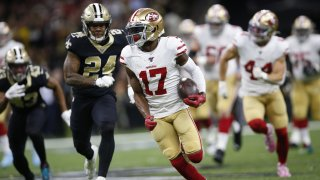 Emmanuel Sanders of the San Francisco 49ers runs after making a reception during a game against the New Orleans Saints.