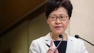 In this Aug. 27, 2019, file photo, Hong Kong Chief Executive Carrie Lam speaks at a press conference in Hong Kong.