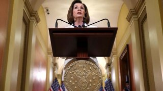 Speaker of the House Nancy Pelosi announced that the House will proceed with articles of impeachment against President Donald Trump at the Speaker's Balcony in the U.S. Capitol
