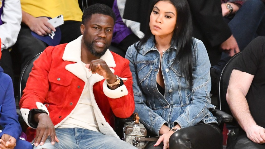 Kevin Hart and Eniko Parrish attend a basketball game between the Los Angeles Lakers and the Los Angeles Clippers at Staples Center on Dec. 25, 2019, in Los Angeles.
