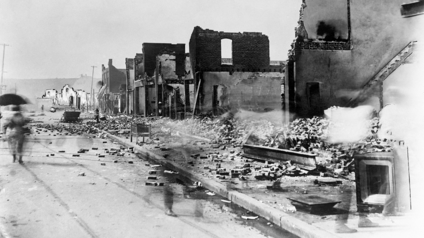 Destroyed buildings in the wake of the Tulsa Race Massacre