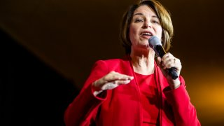 Sen. Amy Klobuchar speaks during a campaign rally