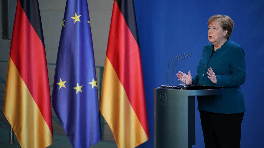 German Chancellor Angela Merkel speaks to the media
