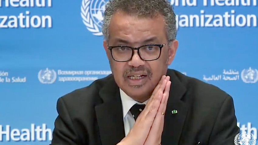 A tv grab taken from the World Health Organization website shows WHO Chief Tedros Adhanom Ghebreyesus delivering a virtual news briefing on COVID-19 (novel coronavirus) at the WHO headquarters in Geneva on March 23, 2020.