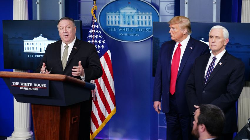 Secretary of State Mike Pompeo, with President Donald Trump and Vice President Mike Pence, speaks during the daily briefing on the novel coronavirus, at the White House on April 8, 2020, in Washington, DC.