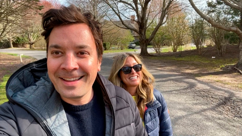 "In this April 14, 2020,, file photo, ""Tonight Show"" host Jimmy Fallon and wife Nancy Juvonen discuss their fertility struggles during a ""Tonight Show"" home edition."