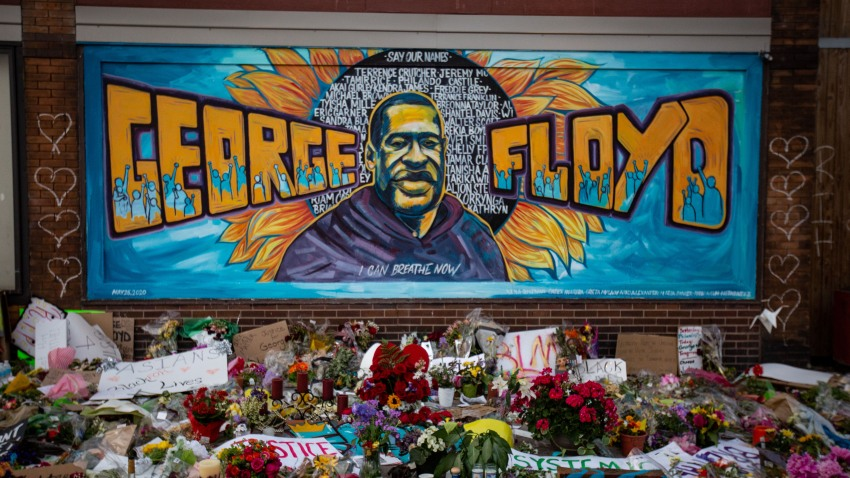 In this May 31, 2020, file photo, the makeshift memorial and mural outside Cup Foods where George Floyd was murdered by a Minneapolis police officer in Minneapolis, Minnesota.