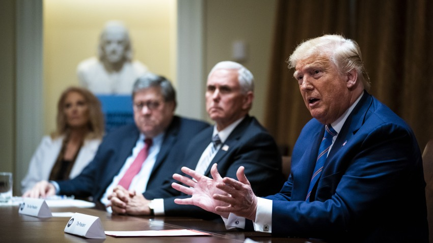 President Donald Trump, right, speaks during a meeting in Washington, D.C., on Monday, June 15, 2020.