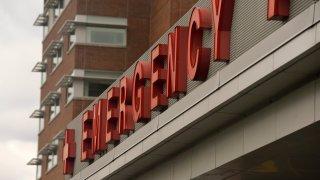 Emergency sign above a hospital entrance