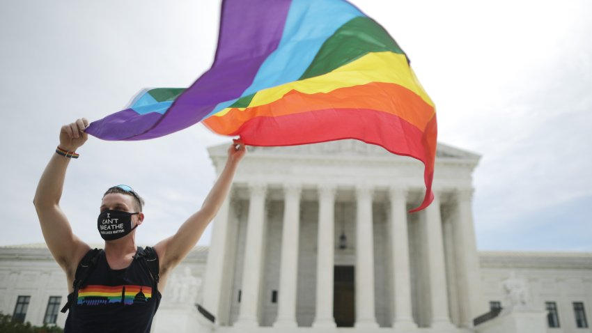 In this June 15, 2020, file photo, Joseph Fons, holding a Pride Flag, stands in front of the U.S. Supreme Court building after the court ruled that LGBTQ people can not be disciplined or fired based on their sexual orientation in Washington, DC.