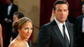 In this March 23, 2003, file photo, actors Ben Affleck and fiancée Jennifer Lopez attend the 75th Annual Academy Awards at the Kodak Theater in Hollywood, California.