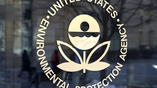 The U.S. Environmental Protection Agency's (EPA) logo is displayed on a door at its headquarters on March 16, 2017 in Washington, D.C.