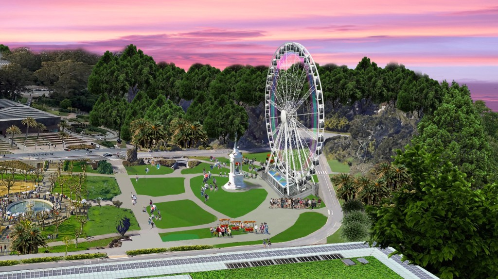 A rendering of the observation wheel that will be set up at Golden Gate Park.