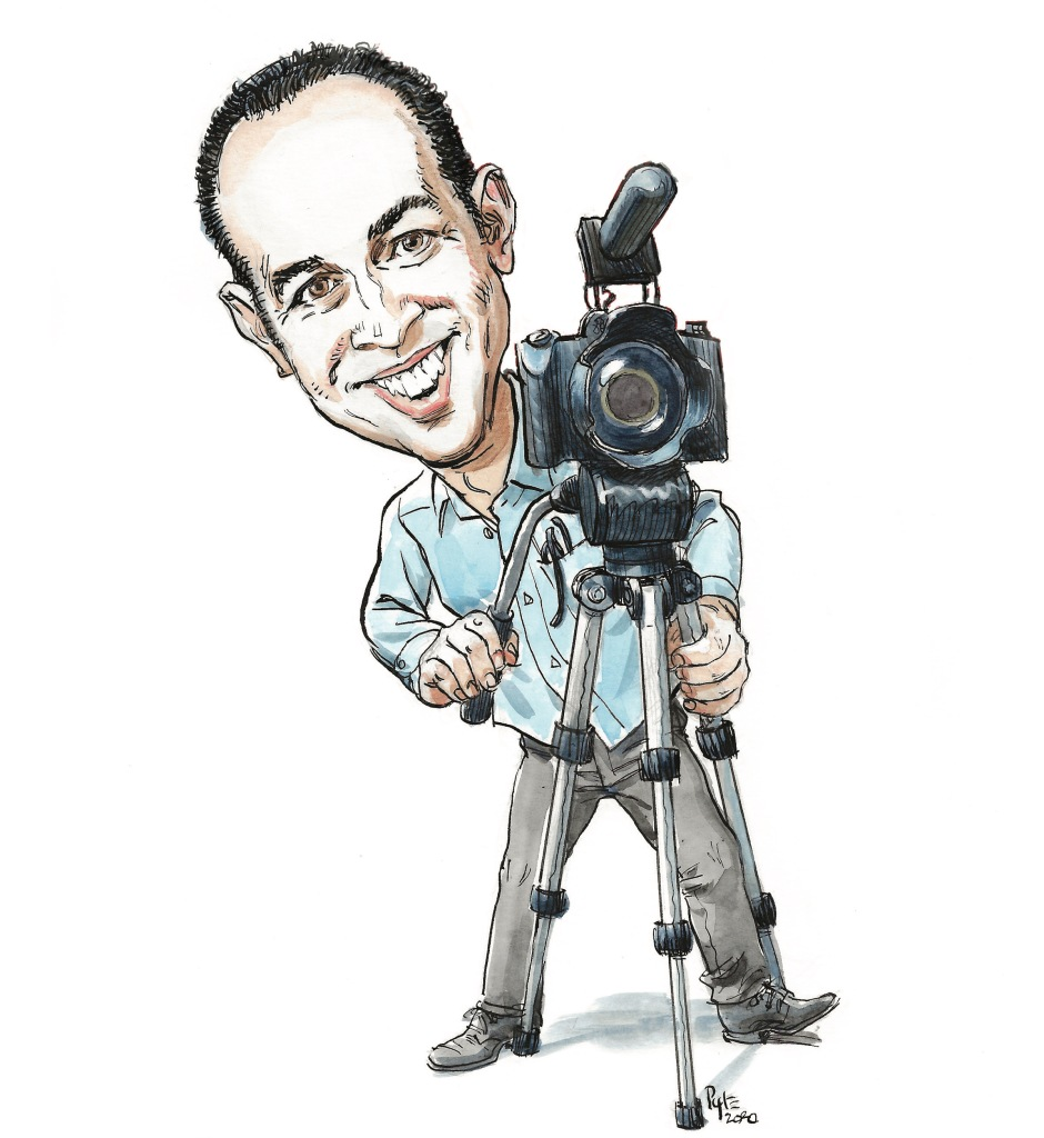 Cartoon of a reporter in a button-down shirt behind a camera on a tripod.