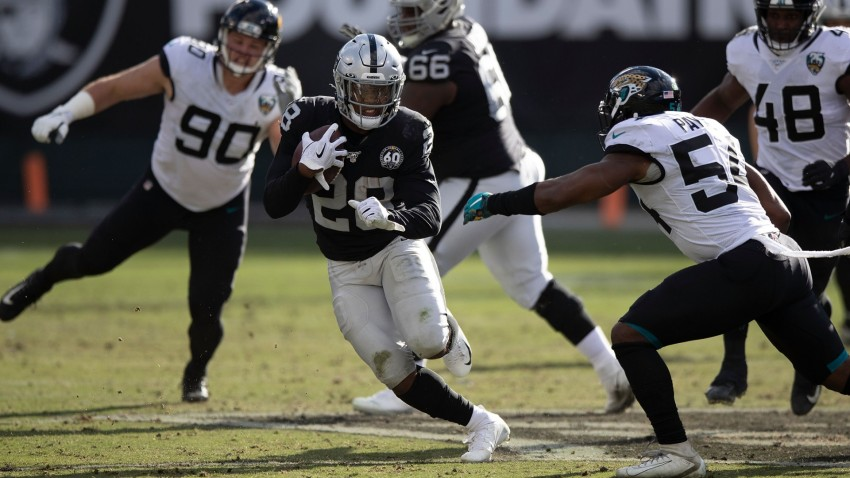 Running back Josh Jacobs of the Oakland Raiders