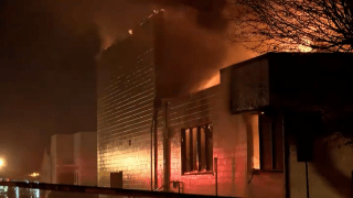 Fire at a library in Porterville.