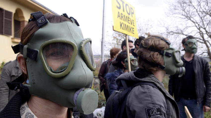 Macedonia Syria Chemical Weapons Protest