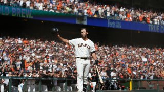 Madison Bumgarner acknowledges the fans at Oracle Park.