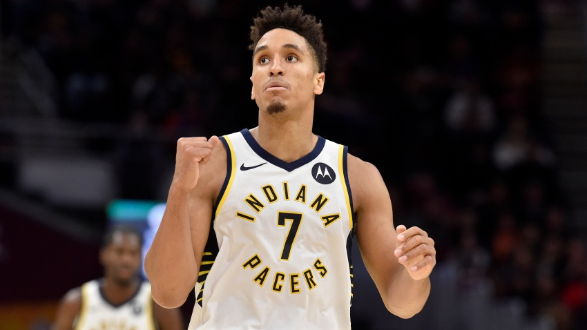 In this Oct. 26, 2019, file photo, Malcolm Brogdon #7 of the Indiana Pacers celebrates after the Pacers scored during the second half against the Cleveland Cavaliers at Rocket Mortgage Fieldhouse in Cleveland, Ohio.