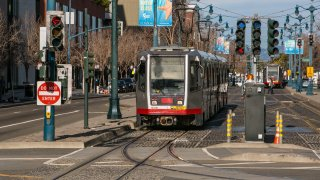 A Muni train in San Francisco.