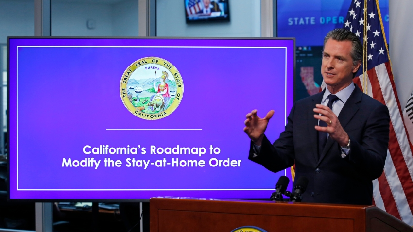 In this April 14, 2020, file photo, California Gov. Gavin Newsom gestures during a news conference at the Governor's Office of Emergency Services in Rancho Cordova, Calif.