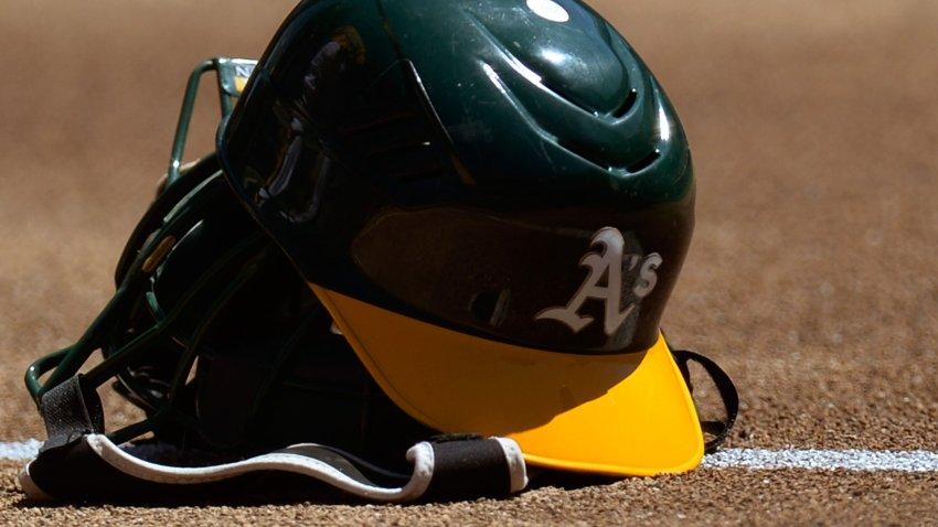 File image of an Oakland Athletics helmet.