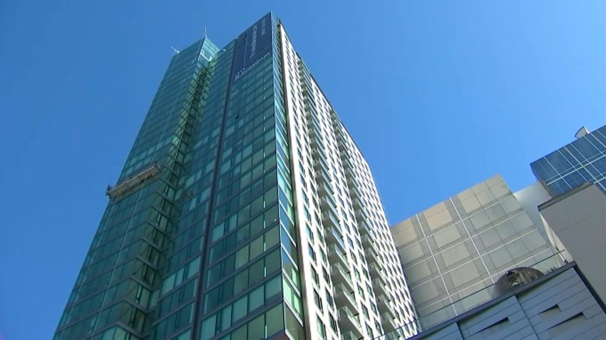 A high-rise housing building in Oakland.